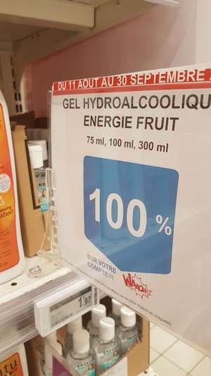 Gel hydroalcoolique Energie Fruit Gratuit 75ml, 100ml, 300ml , Max. 5 par sorte (Via Carte Fidélité) - Sélection de magasins