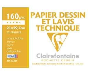 Papier à dessin Clairefontaine 96257C - 12 feuilles