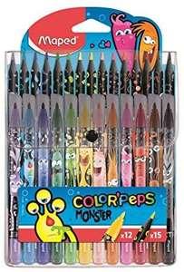 Pack Maped Monster Color'Peps - 15 Crayons de couleur + 12 Feutres lavables