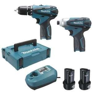 Pack Makita LCT204J : perceuse visseuse 10.8V DF330D + visseuse à chocs TD090D + 2 batteries 1.3Ah + chargeur + coffret Makpac