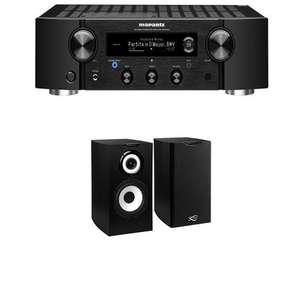 Système audio - ampli Marantz PM7000N (argent ou noir) + paire d'enceinte bibliothèques Cabasse Minorca MC40 (noir)