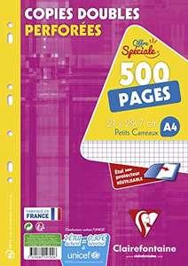 Lot de 2 Paquets de 500 pages Copies doubles perforées Clairefontaine 14792C - 21 x 29,7 cm, 90g, petits carreaux