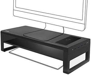 Support Moniteur en Aluminium Vaydeer avec étagère - 4x USB 3.0, Chargeur Wireless QI intégré 15W (Vendeur tiers)