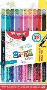 Pochette de 20 feutres Maped Graph Peps - pointe fine, différentes couleurs (via 3.59€ sur carte fidélité)