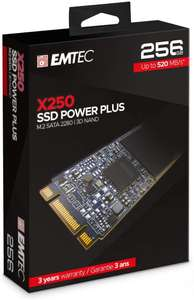 SSD interne M.2 Sata Emtec X250 Power Plus - 256 Go (Jusqu'à 520-500 Mo/s en Lecture-Écriture)