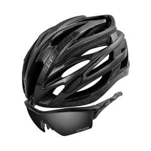 Casque vélo Ekoi Corsa Light (Noir) + Lunettes de soleil Ekoi PersoEvo4 (Noir Matt Mirror)
