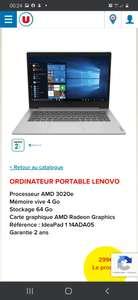 """PC portable 14"""" Lenovo IdeaPad IP 1 14ADA05 - HD, AMD 3020e, 4 Go de RAM, 64 Go en eMMC, Windows 10"""