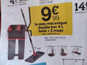Seau mécanique double bac 4L Balai + 2 mops