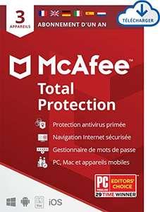 Licence de 12 Mois Logiciel McAfee Total Protection 2021 - 3 appareils, (Dématérialisé)