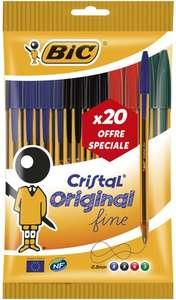 Pochette de 20 Stylos-Bille BIC Cristal Original Pointe Fine (0,8 mm) - Couleurs Assorties