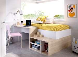 Lit enfant combiné Kric coloris chêne naturel et blanc - Lit + Rangements + Bureau, l 90 x L 190 cm