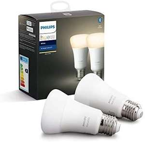 Pack de 2 ampoules LED connectées Philips Hue E27 - Blanc Chaud (vendeur tiers)