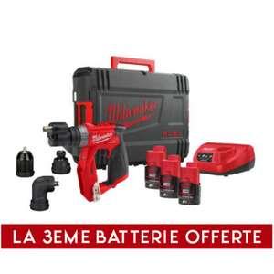 Perceuse visseuse sans-fil Milwaukee FDDXKIT-203X Fuel - M12 12V, 2Ah, 4 mandrins amovibles + 3ème batterie offerte (outilsdespros.fr)