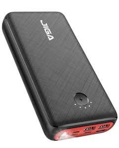 Batterie externe JIGA - 30000mAh, 3 Ports USB Sortie et 3 Entrées et Lampe de Poche (Vendeur tiers)