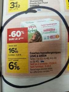 Lot de 2 Packs de Couches hypoallergéniques Love and Green - Ex : 2x 52 couches en Taille 3