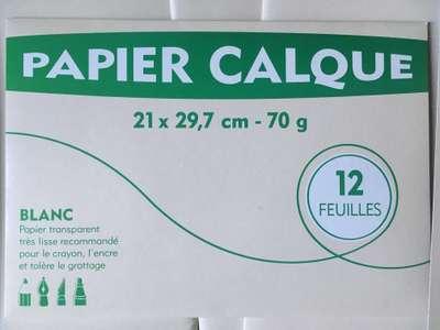 Pochette de 12 feuilles de papier calque (A4, 70g) - Vallauris (06)