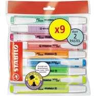 Lot de 9 surligneurs Stabilo swing cool, coloris fluo et pastel (via 1.35 sur la Carte Fidélité)