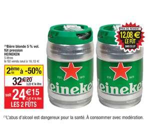 Lot de 2 fûts de bière blonde Heineken - 2x5 L