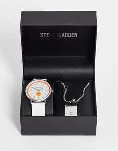 Coffret cadeau montre et collier Steve Madden SMWS094WT (Blanc et argenté)