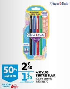 Paquet de 4 stylos feutres Paper Mate Flair (Via 1.20€ sur la carte fidélité)