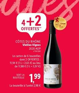 4 bouteilles de Vin achetées = 2 offertes parmi une sélection - Ex : Lot de 6 Bouteilles de Vin Rouge Côtes du Rhône 2020 AOP (6x 75cl)