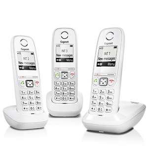Pack de 3 téléphones fixes Gigaset AS405 Trio - blanc