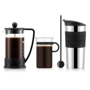 Cafetière à piston 3 tasses + Mug de voyage isotherme inox 0.35l + Tasse en verre 0.30l + Cuillère