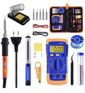 Kit de soudure : Fer à souder WZTO (60W) + Pompe à dessouder + Multimètre + Set d'embouts + Etains + Outils + Sacoche (Vendeur tiers)
