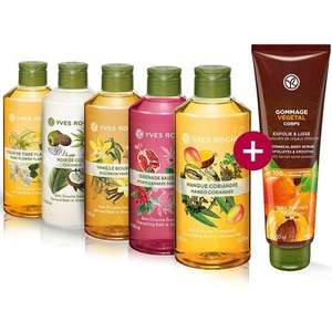 Lot de 5 bains-douches Yves Rocher (5x400 ml, différents parfums) + gommage végétal corps (150 ml)