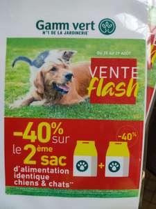 40% de réduction sur le 2ème sac d'alimentation chien ou chat