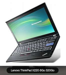 "PC portable 12.5"" Lenovo ThinkPad X220 - HD, i5-2520M 2.50GHz, 8Go RAM DDR3, HDD 320Go, Windows 10 (Reconditionné - Très bon état)"
