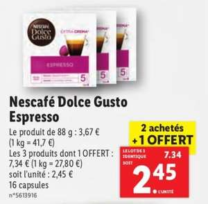 Lot de 3 boites de 16 capsules de café Nescafé Dolce Gusto Espresso (plusieurs variétés)