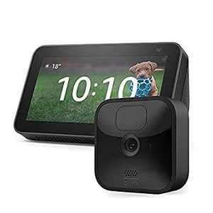 Caméra de surveillance HD sans fil Blink Outdoor + Assistant vocal Amazon Echo Show 5 (2e génération, modèle 2021)