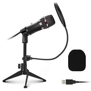 Microphone PC USB à Condensateur avec trépied et filtre anti-pop (Via coupon - Vendeur tiers)