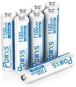 Lot de 8 Piles Rechargeables AAA Powxs - Ni-MH, 1100mAh, 1.2V (Via code - Vendeur tiers)