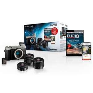 Appareil photo Hybride Panasonic Lumix GX9 + 3 Objectifs (12-32mm + 35-100mm + 25 mm) + Batterie + Abonnement (+ Jusqu'à 105€ Adhérents)