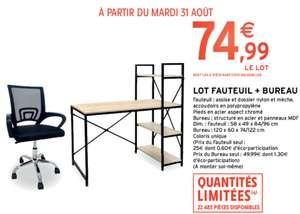 Lot Fauteuil (assise et dossier nylon et mèche, accoudoirs en polypropylène) + Bureau ( structure en acier et panneaux MDF)