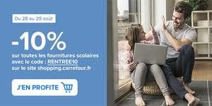 10% de remise sur toutes les fournitures scolaires (shopping.carrefour.fr)