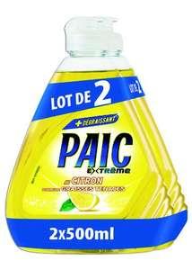 Lot de 2 bouteilles de liquides vaisselle Paic Extrême citron, Vinaigre ou Sel & minéraux - 2x500ml (Via 2.58€ sur Carte Fidélité)