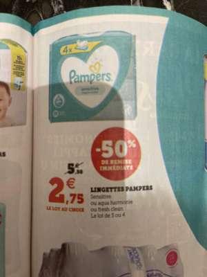 Lot de 4 paquets de Lingettes Pampers différentes variétés (sensitive, Aqua harmonie, ou fresh clean)