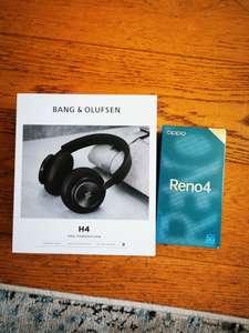"""Smartphone 6.4"""" Oppo Reno 4 5G (8 Go RAM, 128 Go) + Casque sans fil Bang&Olufsen Beoplay H4 2e Génération (Bluetooh, Noir) - Bordeaux (31)"""