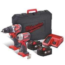 Coffret d'outils électriques Milwaukee - perceuse à percussion M18 CBLPP2A-402C + visseuse à choc M18 CBLID-0 + 2 batterie 4.0 Ah + chargeur