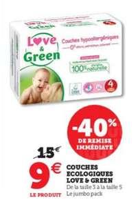 Paquet Jumbo Pack de couches hypoallergéniques Love & Green (T3 à T5)
