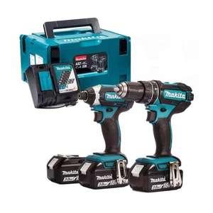 Kit Makita 2 outils - Perceuse-visseuse DDF482 + Visseuse à chocs DTD152 + 3 batteries Li-Ion 18V 3Ah + chargeur rapide + MakPac - DLX2127J1