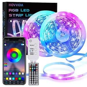 Ruban LED RGB Hovvida - 20m, Bluetooth, Bande LED RGB 12V, Contrôlé par APP, IR Télécommande et Contrôleur (Via Coupon - Vendeur Tiers)