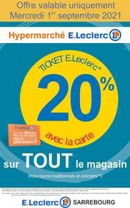 20% offerts en tickets E-Leclerc sur tout le magasin (hors rayons traditionnels et concepts) - Sarrebourg (57)