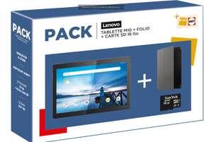 "Pack Tablette tactile 10.1"" Lenovo M10HD (32 Go, Wi-Fi, Noir) + Etui Folio + Carte SD 16 Go"