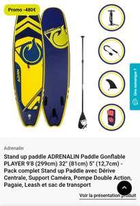Kit Stand up Paddle Adrenalin Player 9'8 (299cmx81cmx12,7cm), avec pompe, pagaie, leash et sac de transport (vendeur tiers)
