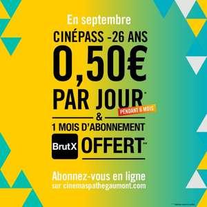 [Moins de 26 Ans] Abonnement à CinéPass -26 Ans à 0,50€/Jour (ou 15€/Mois) pendant 6 Mois et 1 mois d'Abonnement à BrutX offert