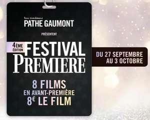 Place de cinéma à 8€ sur une sélection de films en avant-première du 27 septembre au 3 octobre
